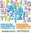 Hand drawn alphabet font - stock vector