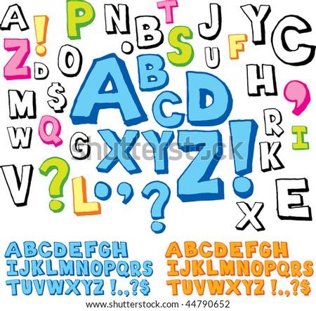Hand drawn alphabet font - stock vector