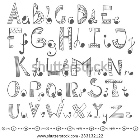 Hand drawn alphabet, funny doodle ABC - stock vector