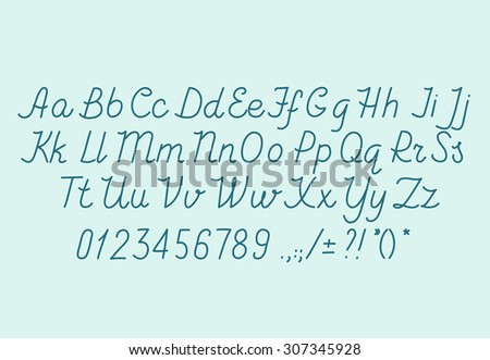 Hand Drawn Alphabet Handwriting Abc Vector Font Italic Type Letters Numbers And Punctuation Marks