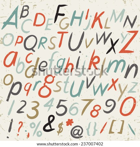 hand drawn alphabet in retro style abc for your design letters of the alphabet