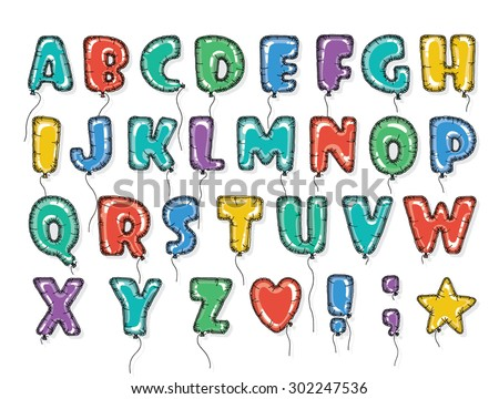 Hand drawn alphabet in the form of balloons. Easy editable vector file. Perfect letters design for festive posters and postcards or interior decoration baby room. - stock vector