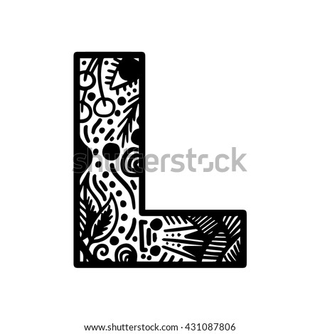 Hand drawn vector alphabet brush painted stock vector for Letter l tattoo