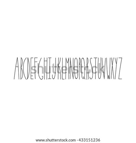 Hand drawn alphabet. Made with ink. Good for use and edit. - stock vector