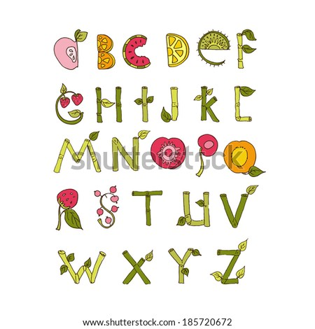Hand drawn alphabet - Nature and Fruits Elements. Doodle font. Vector Illustration - stock vector