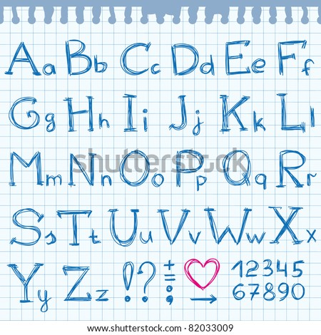 hand drawn alphabet on realistic paper page - stock vector