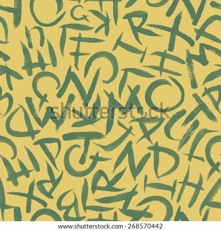 Hand drawn alphabet seamless vector pattern - stock vector