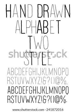 Hand drawn alphabet, two style - stock vector