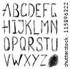 Hand drawn alphabet. Vector illustration. - stock vector