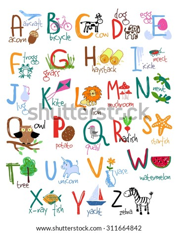 Hand drawn alphabet with words and icons. Vector kids ABC - stock vector