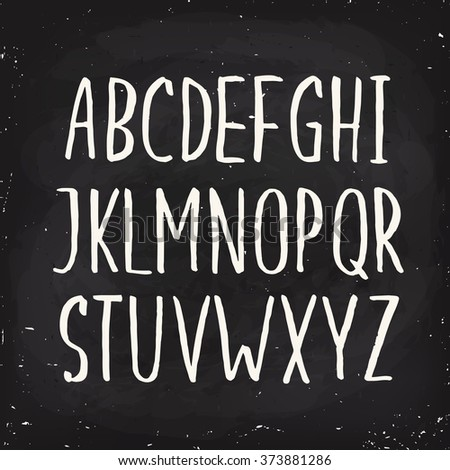 Hand drawn alphabet written with brush pen. Capital letters. Blackboard ABC. Chalk alphabet.  - stock vector