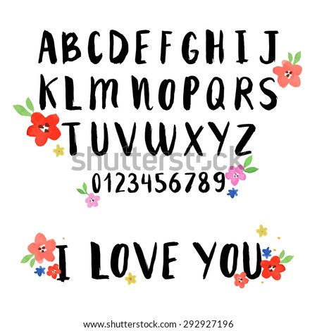 Hand drawn alphabet written with brush pen. Letters are decorated with watercolor flowers - stock vector