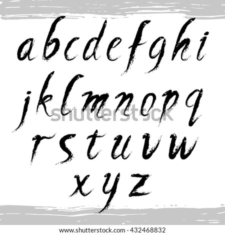 Hand drawn alphabet written with brush pen. Letters on white background. Ink abc - stock vector