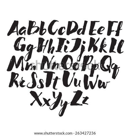 Hand drawn alphabet written with brush pen. V letter is missed here. - stock vector