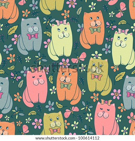 Hand drawn amusing little kitten on meadow vector seamless pattern. Made in  clear and cheerful tones - stock vector
