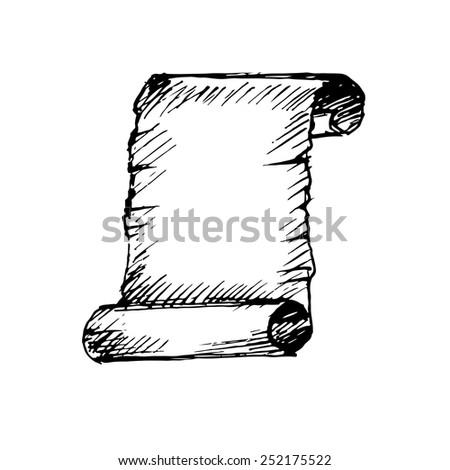 Ancient Scrolls Drawing Hand Drawn Ancient Scroll