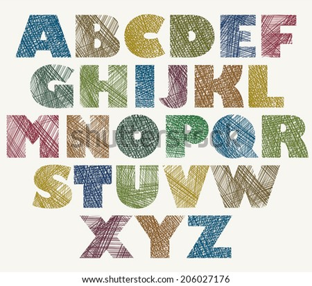 Hand drawn and sketched color bold font, vector sketch style alphabet. - stock vector
