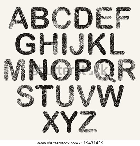 Hand drawn and sketched color rounded font, vector sketch style alphabet. - stock vector