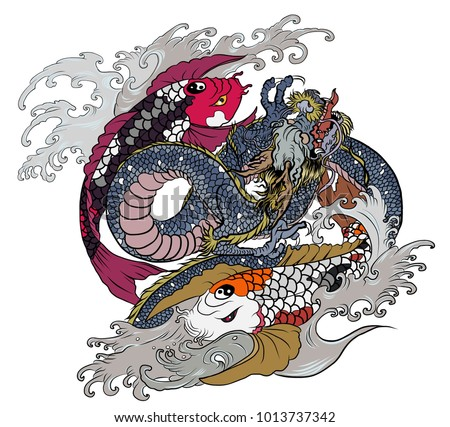 Hand drawn and tattoo design dragon roaring among two koi carp fish.Dragon and koi fish fighting and water splash.doodle art and zentangle style.koi carp swiming in circle look like Yin-Yang symbol.