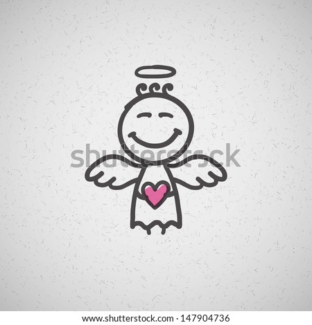 hand drawn angel on old cardboard - stock vector