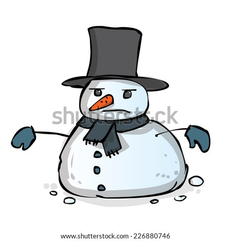 Hand drawn angry snowman vector cartoon illustration