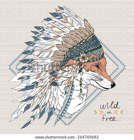 hand drawn animal illustration, fox warrior in war bonnet, native american poster, t-shirt design - stock vector