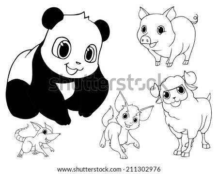 Hand drawn animal set 8 - stock vector