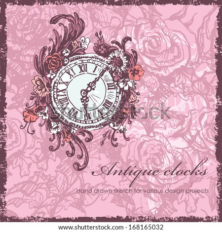 Hand  drawn antique clocks sketch - stock vector