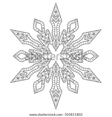 Hand Drawn Antistress Snowflake Template Cover Stock Vector ...