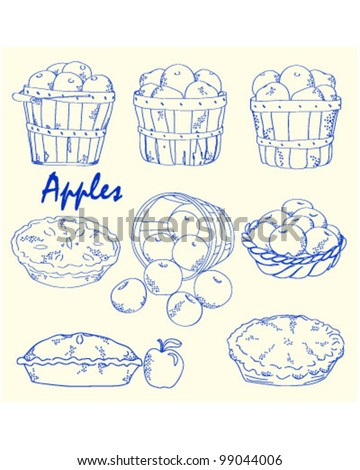 Hand Drawn Apples Icons Set                 vector eps10 - stock vector