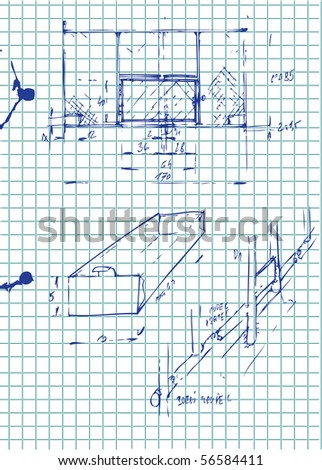 hand drawn architecture plans - stock vector