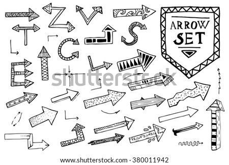 Hand drawn arrow icons set on white background. Vector Illustration. Education or business concept.