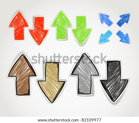 Hand-drawn arrow symbols collection - stock vector