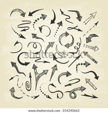 Hand drawn arrows icons set. Abstract vector illustration. - stock vector