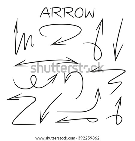 hand drawn arrows, isolated vector arrow signs
