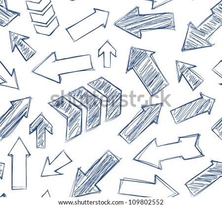 hand drawn arrows seamless background. - stock vector