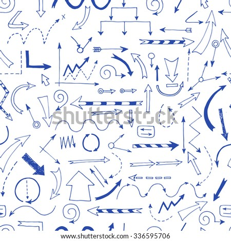Hand drawn arrows seamless pattern for your design and business presentations. - stock vector