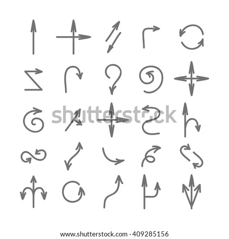 Hand drawn arrows set. Arrows collection isolated on white background. Gray arrows. Set of various arrows. - stock vector
