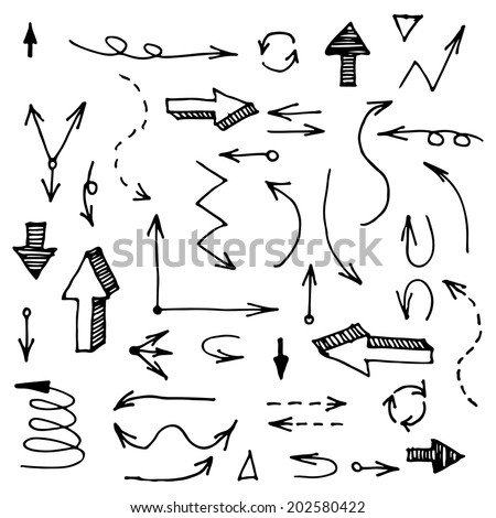 Hand drawn arrows set made in vector. Sketch stroke line element. Fully editable business design element. Connections. - stock vector