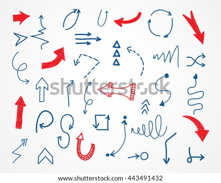 Hand drawn arrows.Set of sketchy arrows.Vector.