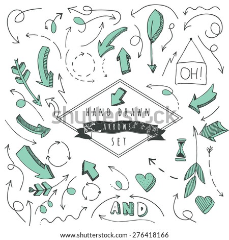 Hand drawn arrows set, sketched style - stock vector