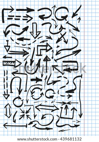 Hand drawn arrows set, vector illustration - stock vector