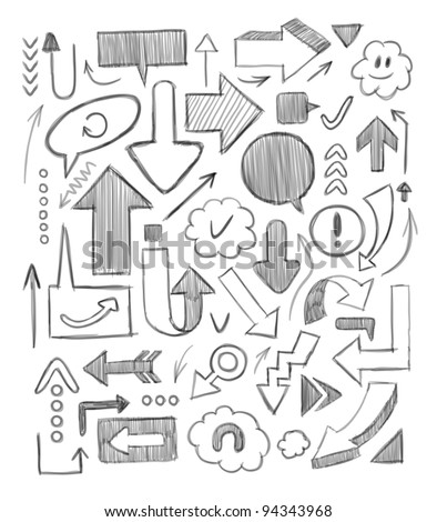 Hand-drawn arrows set. Vector illustration. - stock vector