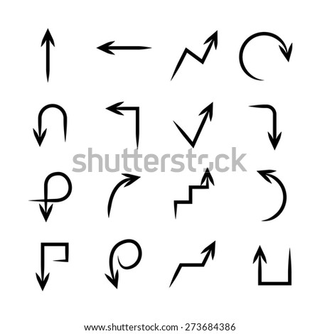 hand drawn arrows, sketch arrows  - stock vector