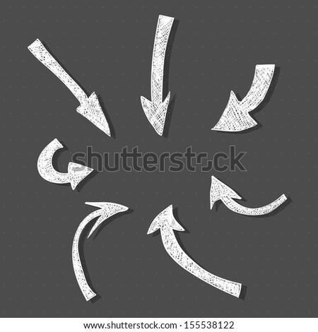 Hand-drawn arrows. Vector illustration - stock vector