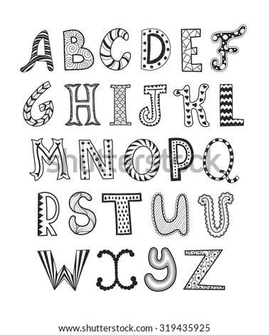 Hand drawn artistic letters set handdrawn stock vector hd royalty hand drawn artistic letters set handdrawn doodle alphabet unique zentangle letters collection black altavistaventures Gallery
