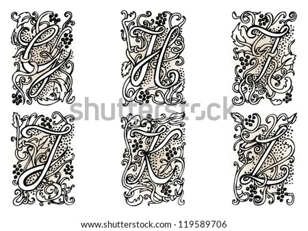 "Hand drawn artistic vector fairytale letters "" g "", "" h "", "" i "", "" j "", "" k "", "" l "".  Whole alphabet downloadable at my portfolio. - stock vector"