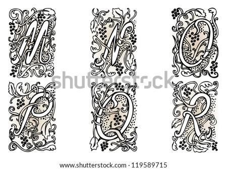 Hand Drawn Artistic Vector Fairytale Letters M N O