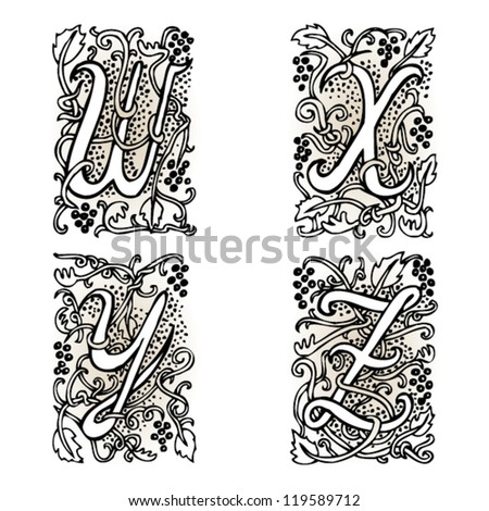 """Hand drawn artistic vector fairytale letters """" w """", """" x """", """" y """", """" z """".  Whole alphabet downloadable at my portfolio. - stock vector"""
