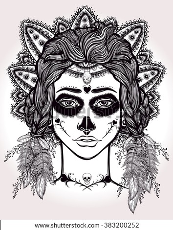 Hand drawn artwork of Mexican Day-of-the-dead Girl . Coloring book, tattoo art. Isolated vector illustration - stock vector